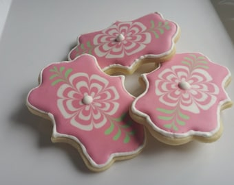 Decorated Iced Sugar Cookies Flower Party Favors Gift Colorful Pink Green White