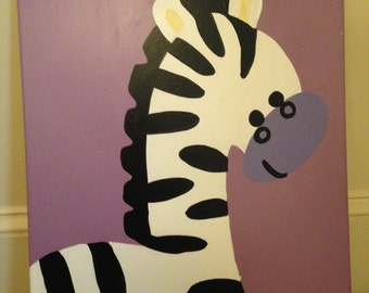 Zebra Purple Canvas Painting