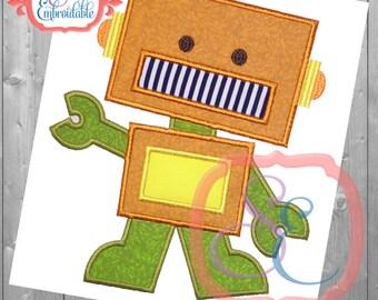 Rex Robot Applique Design For Machine Embroidery INSTANT DOWNLOAD