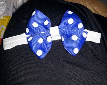 Dark blue polka dot baby headband