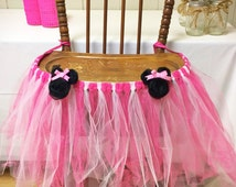 Pink/White Minnie Mouse High Chair Tutu