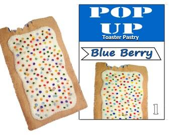 Felt blue berry pop tart (Pop Up) toaster pastry with matching flat box.