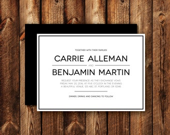 Modern Clean Contemporary Elegant Frame Border Black and White Wedding Invitations Printable or Printed