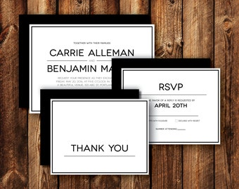 Set of Modern Contemporary Frame Border Wedding Invitations RSVP Reply Cards Thank You Cards Printable or Printed Black and White