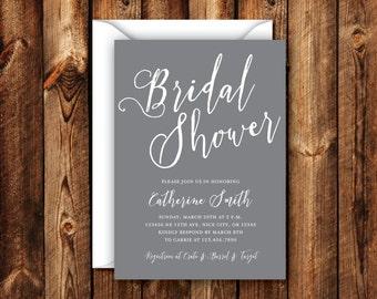 Gray Bridal Shower Invitation Elegant Modern Wedding Shower Invitation Slate Gray Invite Charcoal Bridal 5x7 Digital File or Printed Invites
