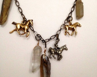 "Horse and Crystal ""Equestrian"" Charm Necklace"
