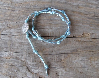 2x Turquoise Leather Wrap Beaded Bracelet