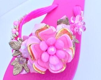 Beaded sandals, decorative flip flops, wedding shoes, bridesmaid sandals, bridal flip flops  size 8/8.5