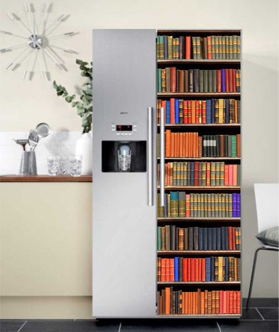 Door wallpaper mural bookcase theme bookshelf sticker poster for Bookshelf mural wallpaper