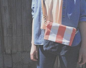 Coral stripe print waxed canvas crossbody bag