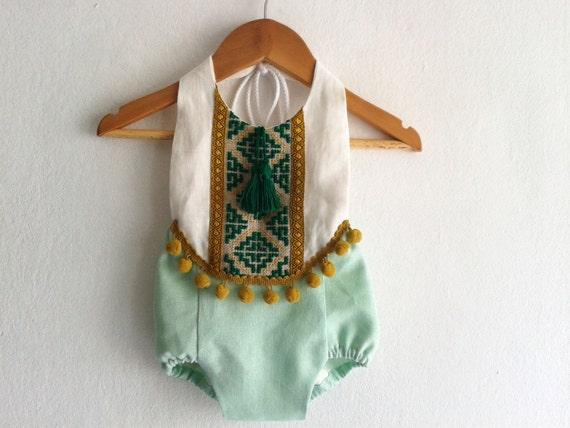 Mint Green Baby Girl Romper Linen Boho Chic Sunsuit Baby