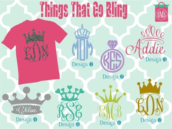 Custom Glitter Crown Kids Monogrammed Shirt Monogrammed Shirt
