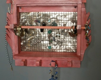 Painted wooden jewelry rack