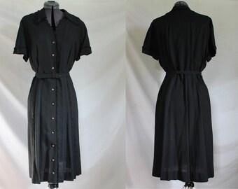 Dressy Black Shirtwaist//1950s//1960s//Day Dress