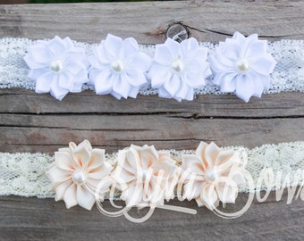 White Flower Headband - Newborn Photo Prop - Flower Girl - Christening Headband - Baptism Headband - Vintage - Ivory Flower Headband