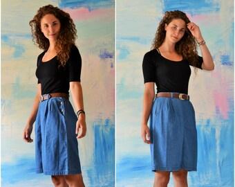 Women's Vintage Denim Skirt // Jean Skirt // High Waist 80s Denim Skirt // High Waisted //
