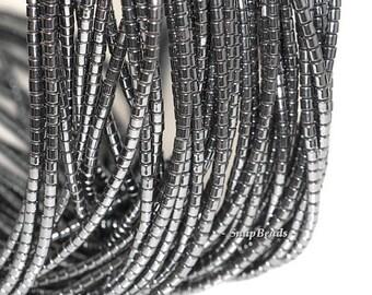 2mm Noir Black Hematite Gemstone Black Heishi Round Tube 2mm Loose Beads 16 inch Full Strand BULK LOT 1,2,6,12 and 50 (90147924-107-2mm F)