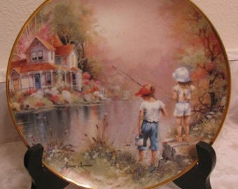 "Porcelain Franklin Mint Collectors  Plate ""Reel Pals""  #F7712 Limited Edition"