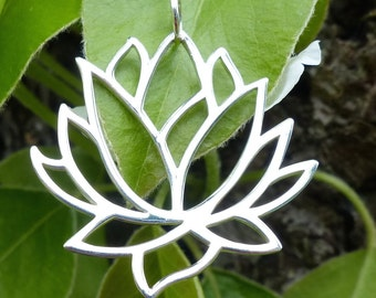"""Yoga Jewelry Large Lotus Flower Necklace Pendant 925 Sterling Silver 16"""" 18"""" 20"""" Chain"""