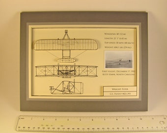 Wright Brothers Wright Flyer 3D Blueprint Art