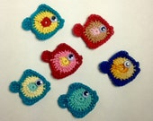 Crocheted Tiny Fish Appliqués - set of 6