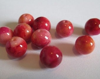 10 beads red natural jade and orange 8mm