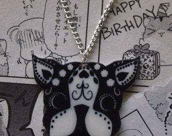 Boston Terrier Sugar Skull Necklace - Rockabilly Tattoo Candy Pug Dog Black