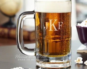 Monogrammed Beer Mug Engraved with 3 Initials - Unique Beer Gifts for Guys with Custom Text - Best Idea for Dad and Beer Lovers