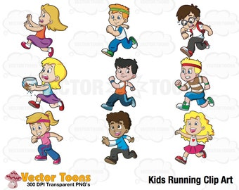 Kids Running Clip Art, Digital Clipart, Digital Graphics