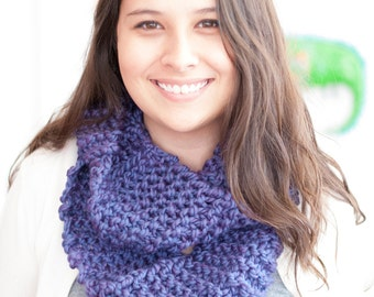 Knitted Infinity Scarf in Purple