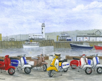 The Italian Job,Scarborough, Limited Edition, Scooter Print, for scooter lover, artwork, scooters