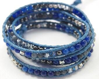 5 times wrap bracelet, Blue Jade mix