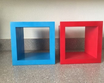 2 (Two) deep square cubes, wall shelves