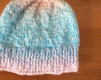 Baby  hat size 0-3 months /knitted hat / baby shower  / gift / labelled / hand knit