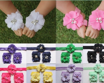 Baby Girl Barefoot Sandals Foot Flower Shoes & Baby Girl Headband Photo Prop Free Postage