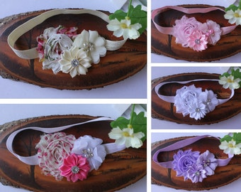 Baby Headband Girl Shabby Flower Hair Band Elastic Stretchy Photo Prop Free Postage