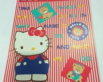 Vintage Sanrio Hello Kitty note made in Japan 1988