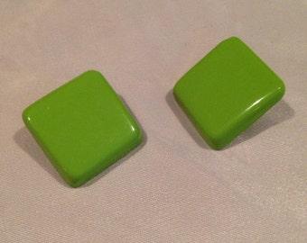 Vintage lime green square stud earrings