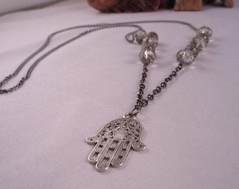 Necklace, hamsa, gunmetal,