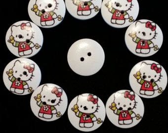 Free Shipping, ten (10) Hello Kitty 20mm wooden buttons, FREE shipping
