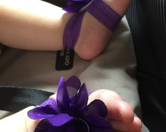 Purple flower power baby barefoot sandals