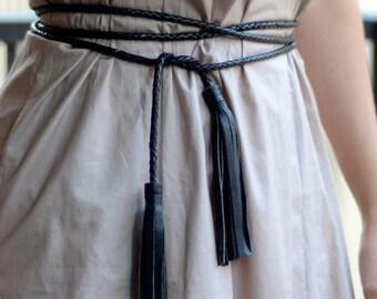 Genuine Leather Tassel Wrap Belt, Rope Belt with Leather Tassel
