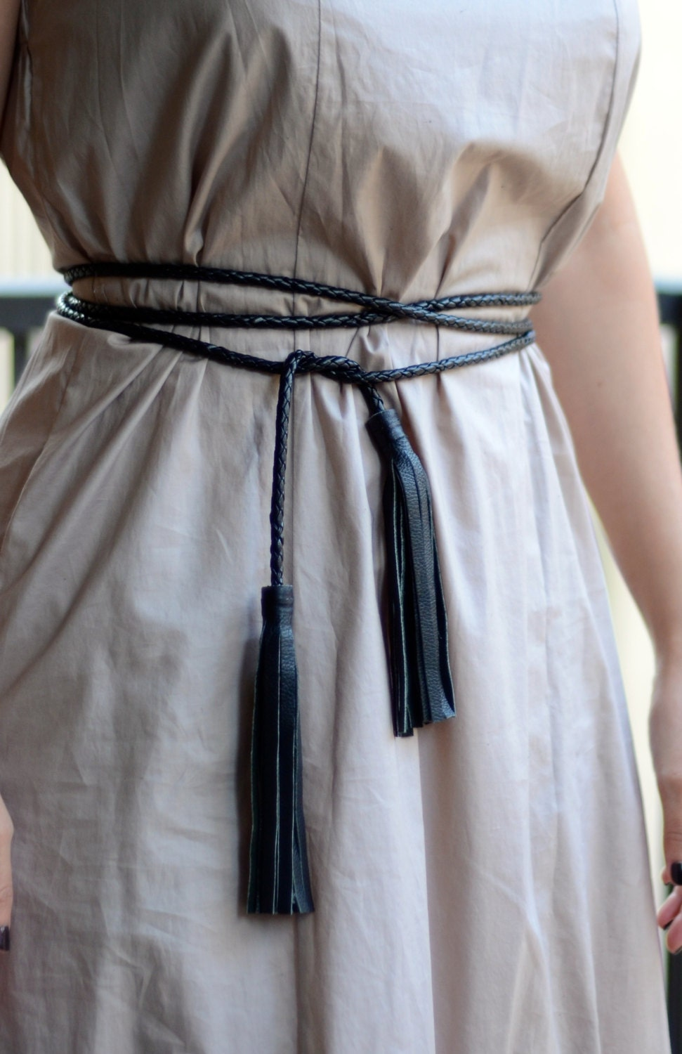Genuine Leather Tassel Wrap Belt Rope Belt With Leather