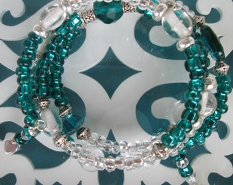 Eye catching teal and white wrap bracelet -  Totally wrapped!