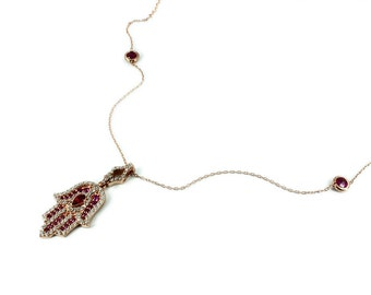 925 Silver Handmade Hand of Fatima Necklace Red Free Shipping