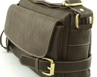 Dark Brown Leather Shoulder Bag / Satchel / Messenger Bag