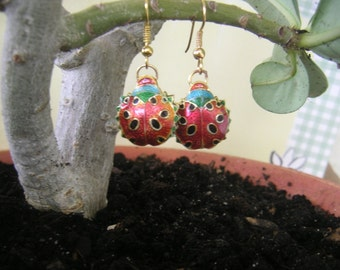 Ladybug, earrings, Handmade - gold tone hooks  LB5