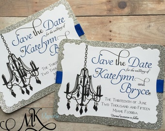 Chandelier Save the Date Wedding Save the Date Glitter Rhinestones (Set)