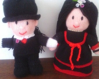 Handmade knitted Gothic Bride and Groom