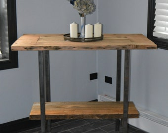 Reclaimed Wood Pub Table with Lower Shelf